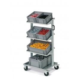 Bakkenwagen 1-zijdig met 6 bakken
