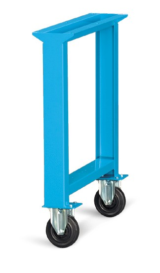 Verrijdbare werkbankbrugpoten met standaard rubber wielen ø125mm - Afmetingen: 80x715x800mmH