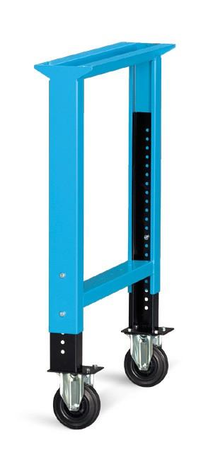 In hoogte verstelbare verrijdbare werkbankbrugpoten met standaard rubber wielen ø 125mm